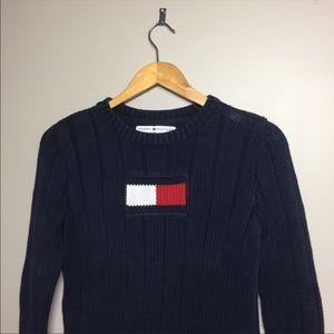 Vintage Tommy Hilfiger Knit Flag Logo Sweater S